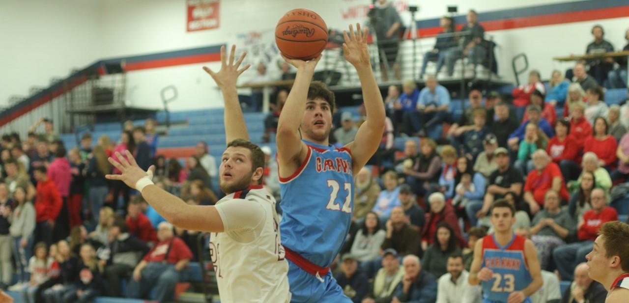 Student playing basketball